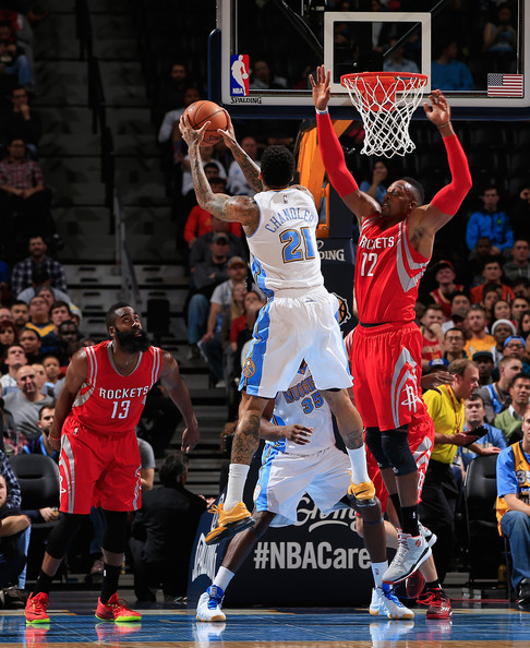 Houston Rockets Vs Denver Nuggets: James Harden And Wilson Chandler Photos