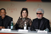 Jury members Will Smith, Agnes Jaoui and jury president Pedro Almodovar attend the Palme D'Or winner press conference during the 70th annual Cannes Film Festival at Palais des Festivals on May 28, 2017 in Cannes, France.