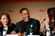 Jury members Maren Ade, Will Smith and Agnes Jaoui attend the Palme D'Or winner press conference during the 70th annual Cannes Film Festival at Palais des Festivals on May 28, 2017 in Cannes, France.