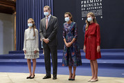 King Felipe VI of Spain, Queen Letizia of Spain, Crown Princess Leonor of Spain (L) and Princess Sofia of Spain (R) attend and audience to congratulate the winners at the Reconquista Hotel during the 'Princesa De Asturias' Awards 2020 on October 16, 2020 in Oviedo, Spain.