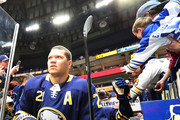 Kyle Okposo #21 of the Buffalo Sabres steps to the ice to warm up before the game against the Winnipeg Jets at the KeyBank Center on January 9, 2018 in Buffalo, New York.