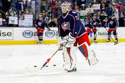 Sergei Bobrovsky #72 of the Columbus Blue Jackets warms up prior to the start of the game against the Winnipeg Jets on April 6, 2017 at Nationwide Arena in Columbus, Ohio.