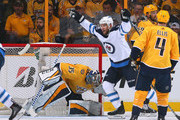 Paul Stastny #25 of the Winnipeg Jets reacts after a Jets goal against goalie Pekka Rinne #35 of the Nashville Predators during the first period in Game Seven of the Western Conference Second Round during the 2018 NHL Stanley Cup Playoffs at Bridgestone Arena on May 10, 2018 in Nashville, Tennessee.