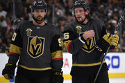 Tomas Tatar #90 and Erik Haula #56 of the Vegas Golden Knights talk during a break in play in the second period of Game Three of the Western Conference Finals against the Winnipeg Jets during the 2018 NHL Stanley Cup Playoffs at T-Mobile Arena on May 16, 2018 in Las Vegas, Nevada. The Golden Knights won 4-2.