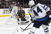 Marc-Andre Fleury #29 of the Vegas Golden Knights defends the shot on goal from Josh Morrissey #44 of the Winnipeg Jets during the first period in Game Three of the Western Conference Finals during the 2018 NHL Stanley Cup Playoffs at T-Mobile Arena on May 16, 2018 in Las Vegas, Nevada.