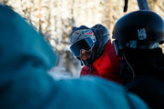 Mountain Dew Snowboarders Danny Davis (C) chats with Red Gerard (L) and Julia Marino during first tracks at Dew Tour at Breckenridge Ski Resort on December 14, 2018 in Breckenridge, Colorado.