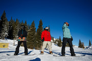 (L-R) Mountain Dew Snowboarders Julia Marino, Danny Davis and Red Gerard get ready to ride with the media during first tracks at Dew Tour at Breckenridge Ski Resort on December 14, 2018 in Breckenridge, Colorado.