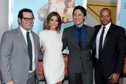 (L-R) Josh Gad, Ashley Greene, Zach Braff and Donald Faison attend the 'Wish I Was Here' screening at AMC Lincoln Square Theater on July 14, 2014 in New York City.