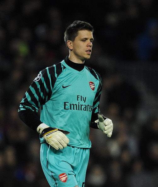 Wojciech Szczesny Wojciech Szczesny of Arsenal looks on during the UEFA Champions League round of 16 second leg match between Barcelona and Arsenal at the Camp Nou stadium on March 8, 2011 in Barcelona, Spain.  Barcelona won 3-1.