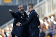 Nuno Espirito Santo manager of Wolverhampton Wanderers complains to Robert Jones fourth official  during the Premier League match between Wolverhampton Wanderers and Southampton FC at Molineux on September 29, 2018 in Wolverhampton, United Kingdom.