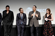 "Chaske Spencer, Sam Rockwell, Michael Greyeyes and Susanna White speak during panel at the Screening of ""Woman Walks Ahead"" - 2018 Tribeca Film Festival at BMCC Tribeca PAC on April 25, 2018 in New York City."