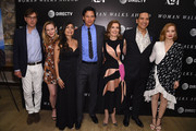 "Rick Solomon, Louisa Krause, Yvonne Russo, Chaske Spencer, director  Susanna White, Michael Greyeyes and Jessica Chastain attend The ""Woman Walks Ahead"" New York Screening at the Whitby Hotel on June 26, 2018 in New York City."