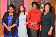 (L-R) First Lady of Namibia Penehupifo Pohamba, Women's Entrepreneurship Day CEO and Founder Wendy Diamond, First Lady of Malawi Gertrude H. Mutharika, and Women's Global Initiative Founder Marcia Dyson attend the Women's Entrepreneurship Day Reception at the apartment of Loreen Arbus on November 18, 2014 in New York City.