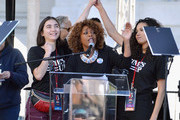 Actors Rowan Blanchard, Alfre Woodard and Jurnee Smollett-Bell onstage during the Women's March Los Angeles 2018 on January 20, 2018 in Los Angeles, California.