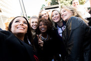 (L-R) Eva Longoria, Rachel Platten, Alfre Woodard, Elizabeth Banks and Felicity Huffman attend the women's march Los Angeles on January 20, 2018 in Los Angeles, California.