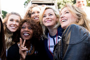 (L-R) Rachel Platten, Alfre Woodard, Elizabeth Banks and Felicity Huffman attend the women's march Los Angeles on January 20, 2018 in Los Angeles, California.