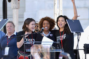 Actors Rowan Blanchard, Alfre Woodard and Jurnee Smollett-Bell speak during the Women's March Los Angeles 2018 on January 20, 2018 in Los Angeles, California.