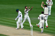 Somerset bowler Peter Trego celebrates after bowling Worcestershire batsman Alexei Kervezee during day two of the Division One LV County Championship match between Worcestershire and Somerset at New Road on May 4, 2015 in Worcester, England.