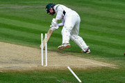 Worcestershire batsman Alexei Kervezee has his leg stump removed by a ball from Somerset bowler Peter Trego during day two of the Division One LV County Championship match between Worcestershire and Somerset at New Road on May 4, 2015 in Worcester, England.