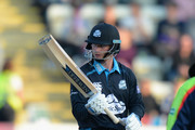 Alexei Kervezee of Worcestershire Rapids celebrates reaching his 50 during the NatWest T20 Blast match between Worcestershire Rapids and Yorkshire Vikings at New Road on June 2, 2016 in Worcester, England.