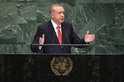 President of Turkey Recep Tayyip Erdogan addresses the United Nations General Assembly on September 25, 2018 in New York City. The United Nations General Assembly, or UNGA, is expected to attract 84 heads of state and 44 heads of government in New York City for a week of speeches, talks and high level diplomacy concerning global issues. New York City is under tight security for the annual event with dozens of road closures and thousands of security officers patrolling city streets and waterways.