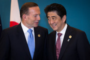 Australian Prime Minister Tony Abbott and Japan's Prime Minister Shinzo Abe meet during a trilateral meeting at the G20 Summit on November 16, 2014 in Brisbane, Australia. World leaders have gathered in Brisbane for the annual G20 Summit and are expected to discuss economic growth, free trade and climate change as well as pressing issues including the situation in Ukraine and the Ebola crisis.