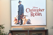 (L-R) Actor Brad Garrett, Director Marc Forster, actors Jim Cummings, Ewan McGregor, Bronte Carmichael, Hayley Atwell and Songwriter Richard M. Sherman attend the world premiere of Disney's 'Christopher Robin' at the Main Theater on the Walt Disney Studios lot in Burbank, CA on July 30, 2018.