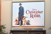 (L-R) Actors Brad Garrett, Jim Cummings, Director Marc Forster, actors Ewan McGregor, Bronte Carmichael, Hayley Atwell and Songwriter Richard M. Sherman attend the world premiere of Disney's 'Christopher Robin' at the Main Theater on the Walt Disney Studios lot in Burbank, CA on July 30, 2018.