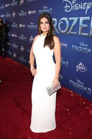 Idina Menzel opted for a simple white sequined gown by Galvan when she attended the world premiere of 'Frozen 2.'