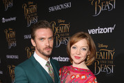 """Actor Dan Stevens (L) and dancer Susie Stevens arrive for the world premiere of Disney's live-action """"Beauty and the Beast"""" at the El Capitan Theatre in Hollywood as the cast and filmmakers continue their worldwide publicity tour on March 2, 2017 in Los Angeles, California."""