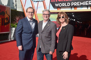 "(L-R) Brad Bird, John Walker and Nicole Paradis Grindle attend the World Premiere Of Disney-Pixar's ""Incredibles 2"" at El Capitan Theatre on June 5, 2018 in Los Angeles, California."