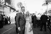 """Image has been shot in black and white. Color version not available.) Actors Chris Pratt and Anna Faris at The World Premiere of Marvel Studios' """"Guardians of the Galaxy Vol. 2."""" at Dolby Theatre in Hollywood, CA April 19th, 2017"""