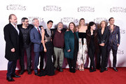 "(L-R) Hugo Weaving, Christian Rivers,  Stephen Lang, Jihae, Peter Jackson, Philippa Boyens, Leila George, Fran Walsh, Deborah Forte and Robert Sheehan attend the World Premiere of ""Mortal Engines"" at Cineworld Leicester Square on November 27, 2018 in London, England."