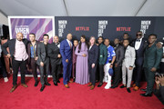 "(L-R) Justin Cunningham, Freddy Miyares, Marquis Rodriguez, Raymond Santana Jr., Kevin Richardson, Asante Blackk, Ava DuVernay, Cindy Holland, Jharrel Jerome, Korey Wise, Antron Mccray, Caleel Harris, Ethan Herisse, Yusef Salaam, Chris Chalk attend the World Premiere of Netflix's ""When They See Us"" at the Apollo Theater on May 20, 2019 in New York City."