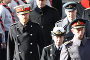 Prince Edward, Duke of Kent leads Princess Anne, Princess Royal, Prince Harry, Duke of Sussex and Prince William, Duke of Cambridge during the annual Remembrance Sunday memorial on November 11, 2018 in London, England. The armistice ending the First World War between the Allies and Germany was signed at Compiègne, France on eleventh hour of the eleventh day of the eleventh month - 11am on the 11th November 1918. This day is commemorated as Remembrance Day with special attention being paid for this year's centenary.