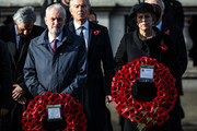 Leader of the Labour Party Jeremy Corbyn and British Prime Minister Theresa May holds their wreaths during the annual Remembrance Sunday memorial at the Cenotaph on Whitehall on November 11, 2018 in London, England. The armistice ending the First World War between the Allies and Germany was signed at Compiègne, France on eleventh hour of the eleventh day of the eleventh month - 11am on the 11th November 1918. This day is commemorated as Remembrance Day with special attention being paid for this year's centenary.
