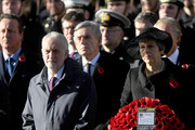 Leader of the Labour Party Jeremy Corbyn and British Prime Minister Theresa May attend the annual Remembrance Sunday memorial on November 11, 2018 in London, England. The armistice ending the First World War between the Allies and Germany was signed at Compiègne, France on eleventh hour of the eleventh day of the eleventh month - 11am on the 11th November 1918. This day is commemorated as Remembrance Day with special attention being paid for this year's centenary.