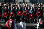 (L-R) Speaker of the House of Commons John Bercow, Nigel Dodds, Leader of the Liberal Democrats Vince Cable, Ian Blackford, Leader of the Labour Party Jeremy Corbyn and British Prime Minister Theresa May stand with their wreaths in front of members of the Cabinet and former British Prime Ministers David Cameron, Gordon Brown and Tony Blair during the annual Remembrance Sunday memorial at the Cenotaph on Whitehall on November 11, 2018 in London, England. The armistice ending the First World War between the Allies and Germany was signed at Compiègne, France on eleventh hour of the eleventh day of the eleventh month - 11am on the 11th November 1918. This day is commemorated as Remembrance Day with special attention being paid for this year's centenary.