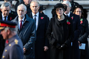 Labour Leader Jeremy Corbyn and British Prime Minister Theresa May attend the annual Remembrance Sunday memorial at the Cenotaph on Whitehall on November 11, 2018 in London, England. The armistice ending the First World War between the Allies and Germany was signed at Compiègne, France on eleventh hour of the eleventh day of the eleventh month - 11am on the 11th November 1918. This day is commemorated as Remembrance Day with special attention being paid for this year's centenary.