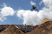 Ben Wallace of Great Britain competes in the BMX Dirt Finals during the X Games Austin at Circuit of The Americas on June 7, 2014 in Austin, Texas.