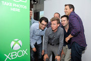 'The Awesomes' actors  Dan Mintz, Michael Shoemaker, Josh Meyers, Taran Killam and Seth Meyers drop by the Microsoft VIP Lounge photobooth during Comic-Con on July 25, 2014 in San Diego, California.