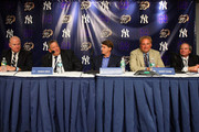 (L-R) Army head coach Rich Ellerson, Notre Dame head coach Charlie Weiss, New York Yankees Managing General Partner Hal Steinbrenner, Yankees President Randy Levine, and Chief Operating Officer Lonn Trost attend a press conference announcing that Yankee Stadium will play host to the 2010 Notre Dame v Army college football game on July 19, 2009 at Yankee Stadium in the Bronx borough of New York City. The game is to be played on November 20, 2010.