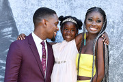 """Aml Ameen, Myla-Rae Hutchinson Dunwell and Shantol Jackson attend the UK premiere of """"Yardie"""" at the BFI Southbank on August 21, 2018 in London, England."""