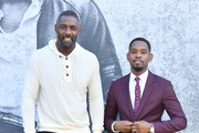 """Director Idris Elba and actor Aml Ameen attend the UK premiere of """"Yardie"""" at the BFI Southbank on August 21, 2018 in London, England."""