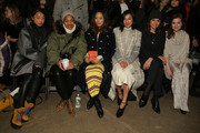 (L-R) Margaret Zhang, Tamu McPherson, Aimee Song, Nicole Warne, Kelly Framel and Leah Chernikoff attend the Yigal Azrouel fashion show on February 15, 2015 in New York City.