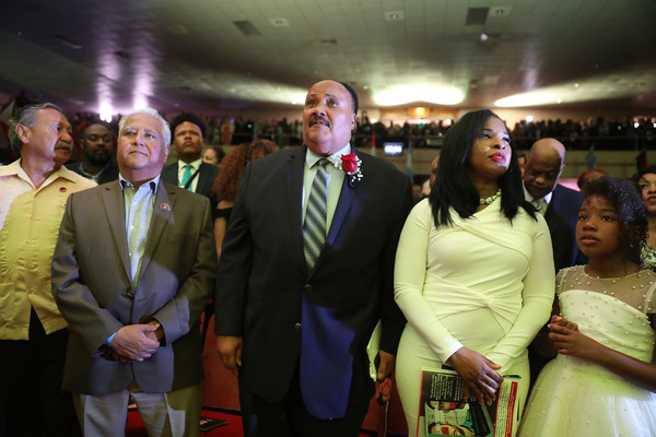 Memphis Marks 50th Anniversary Of Martin Luther King Jr's Assassination [martin luther king jr,martin luther king iii,paul chavez,father,daughter,wife,event,yellow,youth,community,friendship,crowd,formal wear,ceremony,fun,suit,assassination,memphis marks 50th anniversary,i am,city]