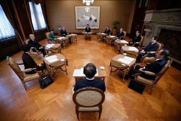 Yoshihide Suga The Imperial Household Council Holds a Meeting to Discuss the Schedule of Emperor Akihito's Abdication