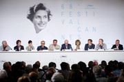 """(L-R) Henri Behar, actors Paul Dano, Rachel Weisz, Harvey Keitel, director Paolo Sorrentino, actors Michael Caine and Jane Fonda, Nicola Guilano, Fabio Conversi and Giampaolo Letta attend the press conference for """"Youth"""" during the 68th annual Cannes Film Festival on May 20, 2015 in Cannes, France."""