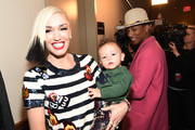 Gwen Stefani and Pharrell Williams pose backstage at iHeartRadio Jingle Ball 2014, hosted by Z100 New York and presented by Goldfish Puffs at Madison Square Garden on December 12, 2014 in New York City.
