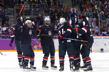 Zach Parise Ryan Kesler Ice Hockey - Winter Olympics Day 8
